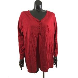 Roamans Plus Size 1X Red Long Sleeve V Neck Top